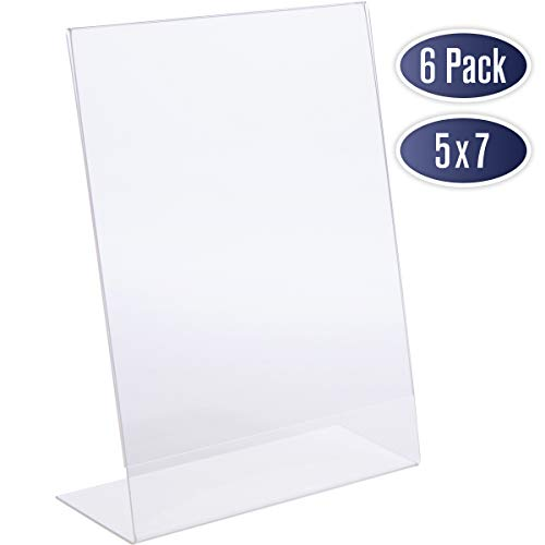 Slant Back Acrylic Sign Holder 5x7 - Clear Picture Frame Stand, 5 x 7 Inches Photo Frames Display for Sign, Menu, Document, Picture, Flyer, and More. Slant Ad Photo Frame Display Holders (6 Pack) (Clear 5x7 Picture Frame)