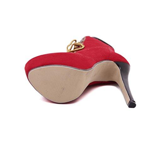 Tacón Color Liangxie Rojo Zhhzz Cruzado Sólido De Talón Sexy Alto Zapatos Para Botines Mujer Algodón Martin Cómodo Botas YwCwn71Bqx