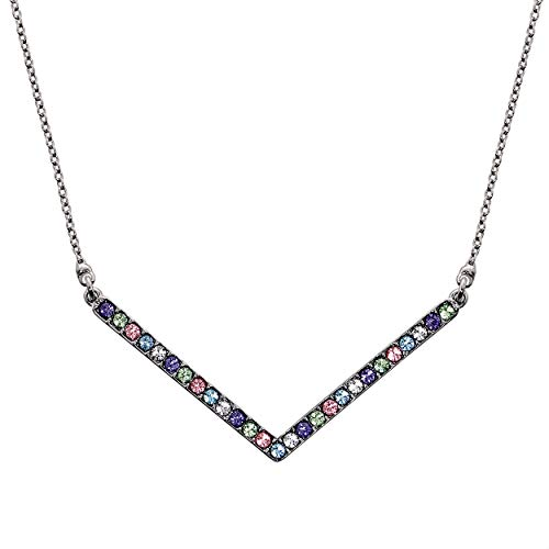 J.BRAND - Boxed 'Open Arms' Women Jewelry Necklace with Multi Colored Swarovski ()