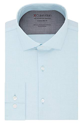 Calvin Klein Men's Dress Shirts Xtreme Slim Fit Solid Thermal Stretch, Pool Blue, 17