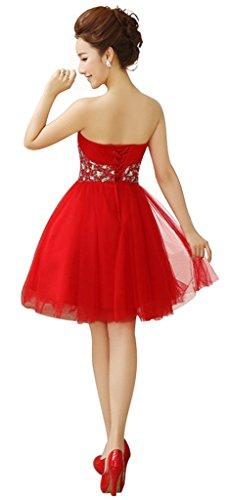 Gown Beaded Red Strapless Cocktail Prom Dress Women's Drasawee Party Ball Short 6aHAIaqW