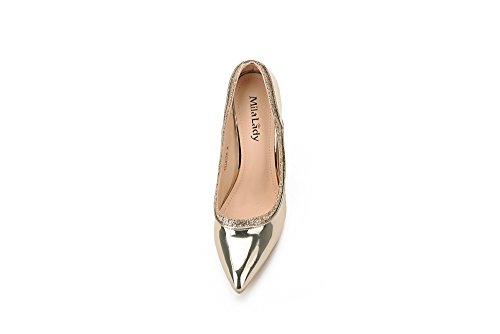 Mila Lady Celeste Embellished Sparkles Platform Point Toe Lady Heeled Shoes, Gold