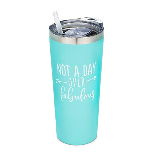 Not A Day Over Fabulous | 22 oz Stainless Steel Insulated Tumbler with Lid and Straw - Birthday Tumbler Cup | Birthday Gift for Her (Mint)