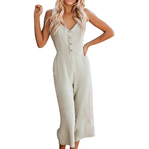 Palarn 2019 Women Jumpsuits, Womens Holiday Playsuit Jeans Demin Elastic Waist Strap Long Beach Jumpsuit (XL, Green a)