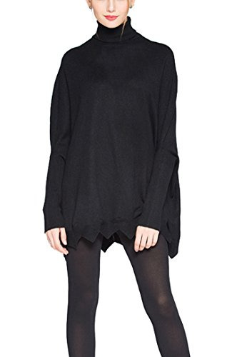 Womens Turtleneck Knit Long Batwing Sleeve Oversized Loose Pullover Sweaters Black One Size