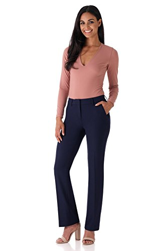 Rekucci Women's Smart Stretch Desk to Dinner Straight Leg Pant w/Zipper Closure (6,Navy)