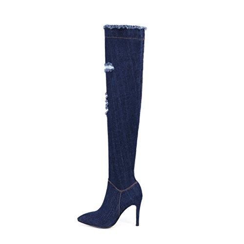 Stiletto Over Jeans Boots Heel Darkblue AIWEIYi point Womens High Denim Knee Thigh Boots wvxW6fqW0n