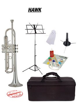 Hawk Nickel Bb Trumpet School Package with Case Music Stand Trumpet Stand and Cleaning Kit WD-T312-PACK