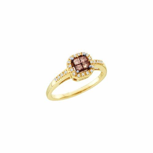 0.25CTW COGNAC DIAMOND LADIES INVISIBLE RING 14K Yellow-gold