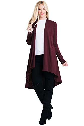 Wool Natural Long (ReneeC. Women's Natural Bamboo Super Soft Open Front Long Cardigan - Made in USA (Medium, Burgundy))