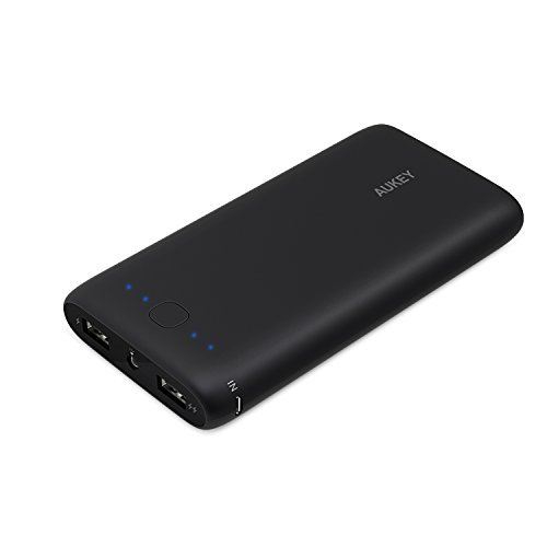 Aukey 20000mAh Portable External Battery Charger Power Bank with AIPower Tech for Apple iPad iPhone 6s, 6s Plus, Samsung Google Nexus LG HTC Motorola and other USB Powered Devices - Black