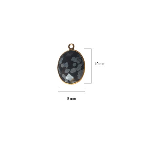 Snowflake Obsidian Oval 8X10mm by BESTINBEADS I Snowflake Obsidian Oval Bezel I Snowflake Obsidian Oval Pendant Pendant Gold I Bezels Connectors I Snowflake Obsidian Oval Cabochon
