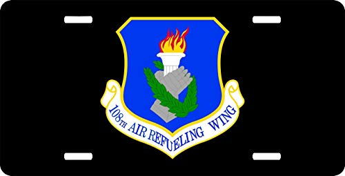 - US Air Force 108th Air Refueling Wing License Plate Cover for Women/Men, Military Pride Aluminum Metal License Plate Tag Sign Decor for US Cars - 12