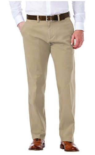 Haggar Clothing Mens Sustainable Stretch Chino Flat Front Straight Fit Pants (34W x 34L, Khaki)