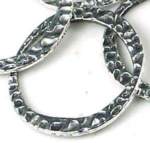 10 Silver Pewter Hammered Disc Large Ring 30mm Spacer Beads and Roll Crystal String for Bracelets Jewelry Making - Metal Pewter Globe