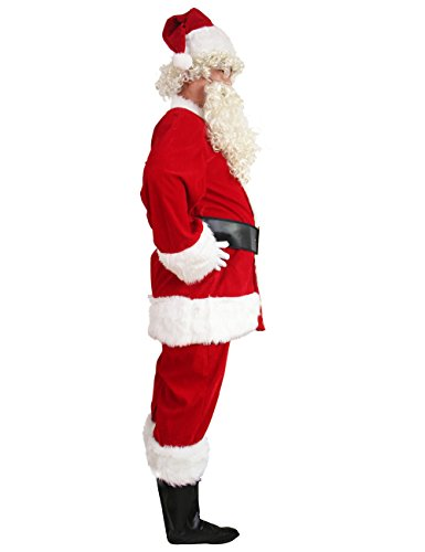 WHOBUY Men's Deluxe Santa Suit 10pc. Christmas Adult Santa Claus M