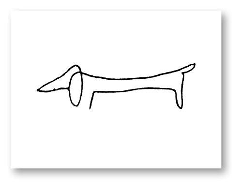 Dog - Pablo Picasso Dachshund (Wiener Dog) Sketch Line Art Print - 8x10 inch