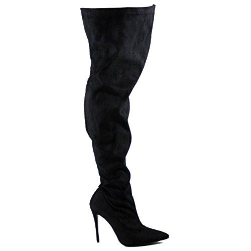 Viva Womens Fashion Oberschenkel Hohe Spitzschuh Stretch High Heel Stiletto Stiefel Schwarz