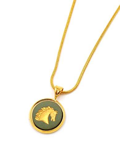 Wedgwood Authentic Gold-Toned Jasperware Pendant Necklace Horse in Profile
