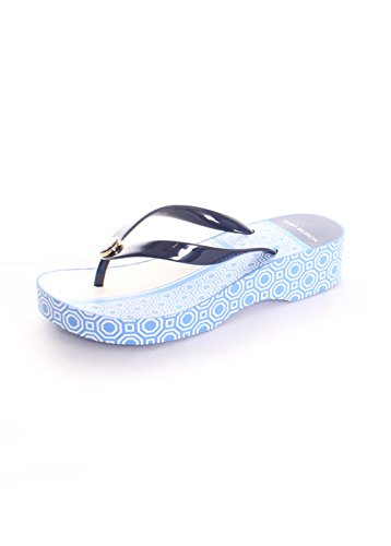 Tory Burch Cecily Cut Out Wedge Navy Octagon Flip Flops