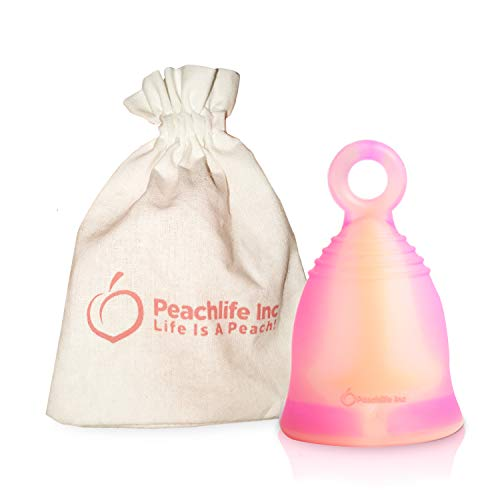 Mini - Soft - Menstrual Cup With Ring For Easy Removal - Small 24ml Low Cervix - 12 Hour No Spill Pad and Tampon Alternative - FDA Approved Medical Grade Silicone - Teen PEACHSWIRLCUP by Peachlife Inc
