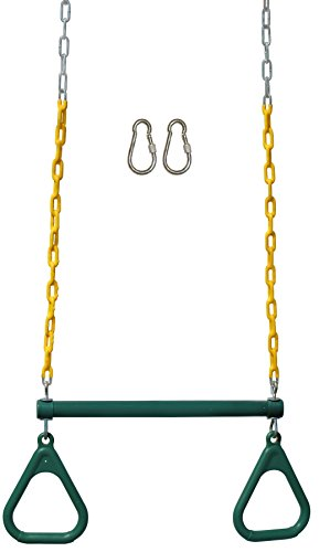 Jungle Gym Kingdom Trapeze Swing Bar with Rings 48' Heavy Duty Chain Swing Set Accessories & Locking Carabiners - Green