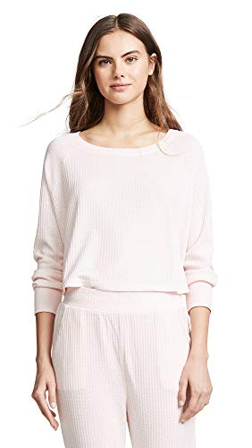 Honeydew Intimates Women's Sneak Peek Waffle Knit Crop Sweatshirt, Glisten, Pink, Small