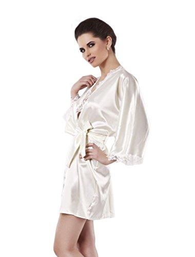 Dkaren Luxury Nightgown Satin Dressing Gown Robe Kimono Sleepwear (Large, Light Ecru)