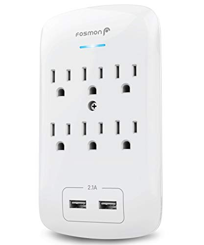 (Fosmon C-10685 6 Outlet USB Surge Protector, 3-Prong Wall Mount Adapter Tap with 2 Dual USB Port Charger 2.1A Quick Charging, 1875 Watts Indoor, Grounded, ETL Listed, White)