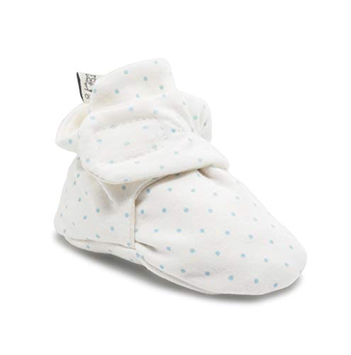 Owluxe Organic Cotton Baby Booties Crib Shoes with Kick Proof, 0-6 Months, Blue Polka Dot, White, Unisex