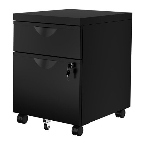 MOBILE FILE CABINET OFFICE DRAWER UNIT ON CASTER 2 DRAWERS BOTH CAN BE LOCKED BLACK LOCK AND KEY INCLUDED by IKEA