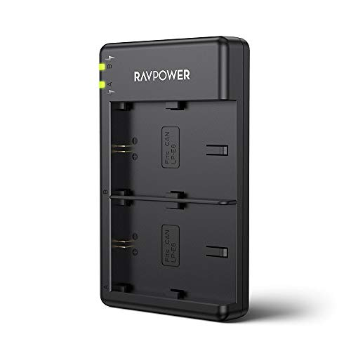 RAVPower Dual Slot Battery Charger for Canon LP-E6 LP-E6N Batteries, Compatible with Canon 5D Mark II III IV, 80D, 70D, 60D, 6D, EOS 5Ds, 5D2, 5D3, 5DSR, 5D4 Camera(Micro USB Port)