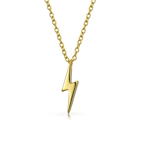 [Bling Jewelry Gold Plated 925 Silver Lightning Bolt Pendant Necklace 16in] (Lightning Bolt Costumes)