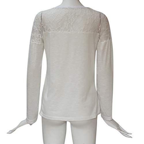 Primavera A pizzo Bluse Manica Lavorato White collo Eleganti O Applique Maglietta Donna Patchwork Lunga Casuale Canotte Camicie Maglia Estate Bohemian YwOqAEp