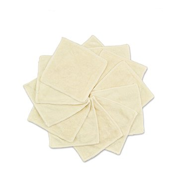 Babygoal Reusable Bamboo Baby Wipes, Washable Small Size Saliva Towel Face Wipes,12 Pack Cloth Wipes 12bw01f