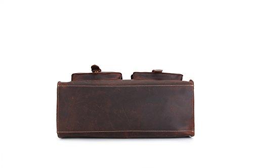 Genda 2Archer Bolso de Hombro Retro del Ordenador Portátil de la Cartera del Cuero del Caballo Para los Hombres (41 cm * 17cm * 24 cm)