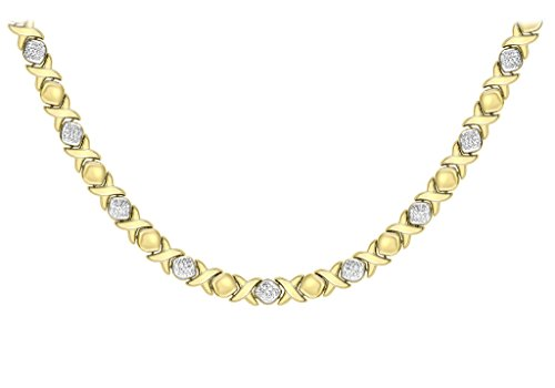 9 ct or 2 couleurs - Collier Femme - Coupe Diamant Hugs and Kisses 43 cm/17 '
