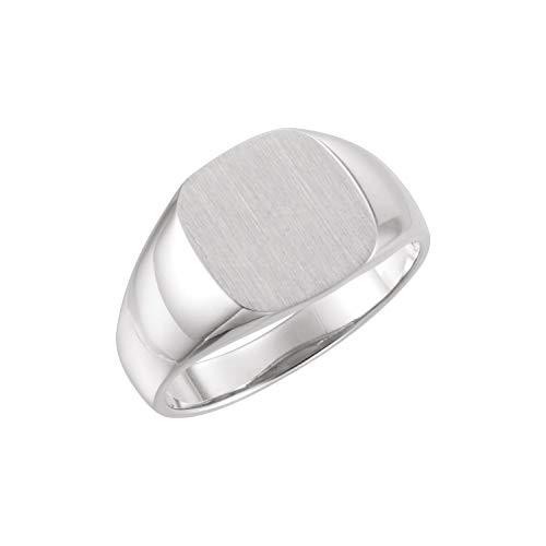 14K White Gold 12mm Men's Signet Ring with Brush Top Finish