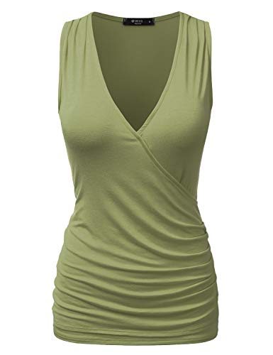 Doublju Womens Deep V-Neck Surplice Wrap Sleeveless Tank Top SAGE X-Large