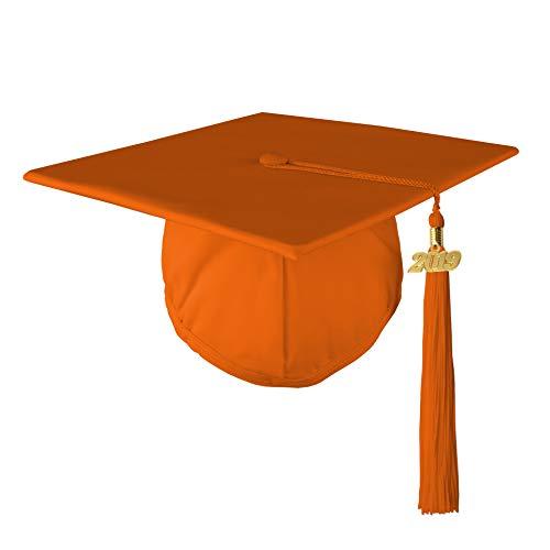 - Adult Unisex Matte Graduation Cap with 2019 Tassel, Orange