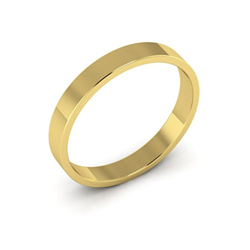 14K Yellow Gold men's and women's plain wedding bands 3mm light flat, 5 by i Wedding Band (Image #1)