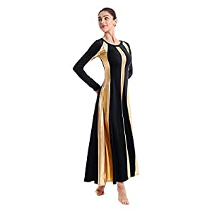 IBAKOM Womens Adult Metallic Gold Color Block Long Sleeve Praise Dance Dress Loose Fit Full Length Liturgical Lyrical…