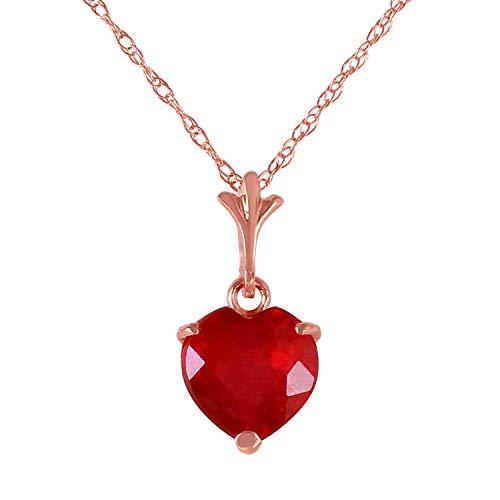 - Galaxy Gold 14K Solid Rose Gold High Polished Finish Pendant Necklace with 1.45 ct Heart-Cut Natural Ruby Valentines Gift Women Birthday Christmas Easter Spring Summer Fine Jewelry (16)