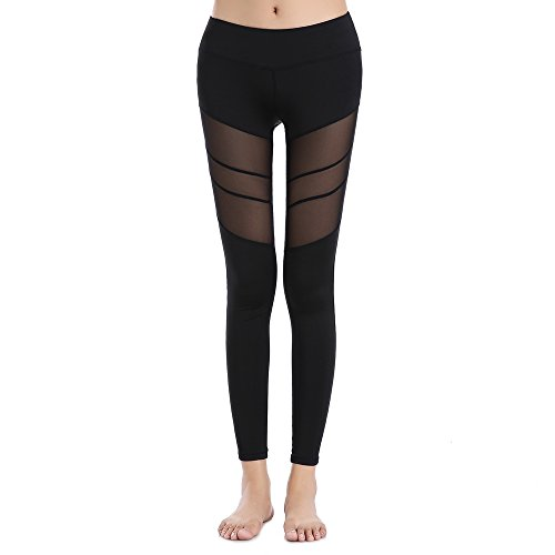 SOUTEAM Womens Stretchy Mesh Panel Leggings High Rise Running Tights, Black, M