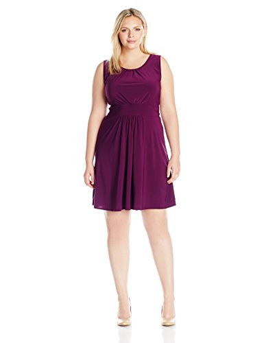 Star Vixen Women's Plus Size Sleeveless Banded Skater Waist Shirred Bodice and Shirred Skirt Short Ity Knit Dress, Purple, 1X