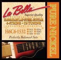 LaBella H6C6-1532 Hawaiian Lap Steel Guitar Pure Nickel - 6-String C6 Tuning 15-32
