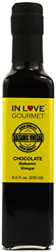 In Love Gourmet Chocolate Balsamic Vinegar 250ML/8.5oz Great on Strawberries and Fruit Salads, Amazing on Grilled Steaks and Chicken 1 Great on fresh soft cheeses, fruit fondues, and desserts. Use as a glaze grilled chicken and red meats. We love it on yogurt, ice-cream, and waffles.