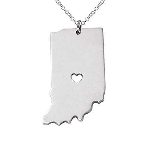 M&T 2015 Silver Tone Stainless Steel Map Pendant Necklace, We Love Indiana, IN