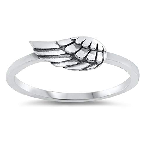 (Oxidized Angel Wing Flying Speed Racing Ring 925 Sterling Silver Band Size 5)
