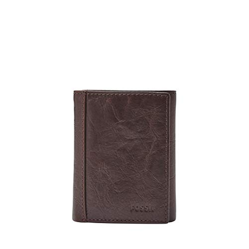 - Fossil Men's Neel Leather Trifold Wallet, Brown, One Size